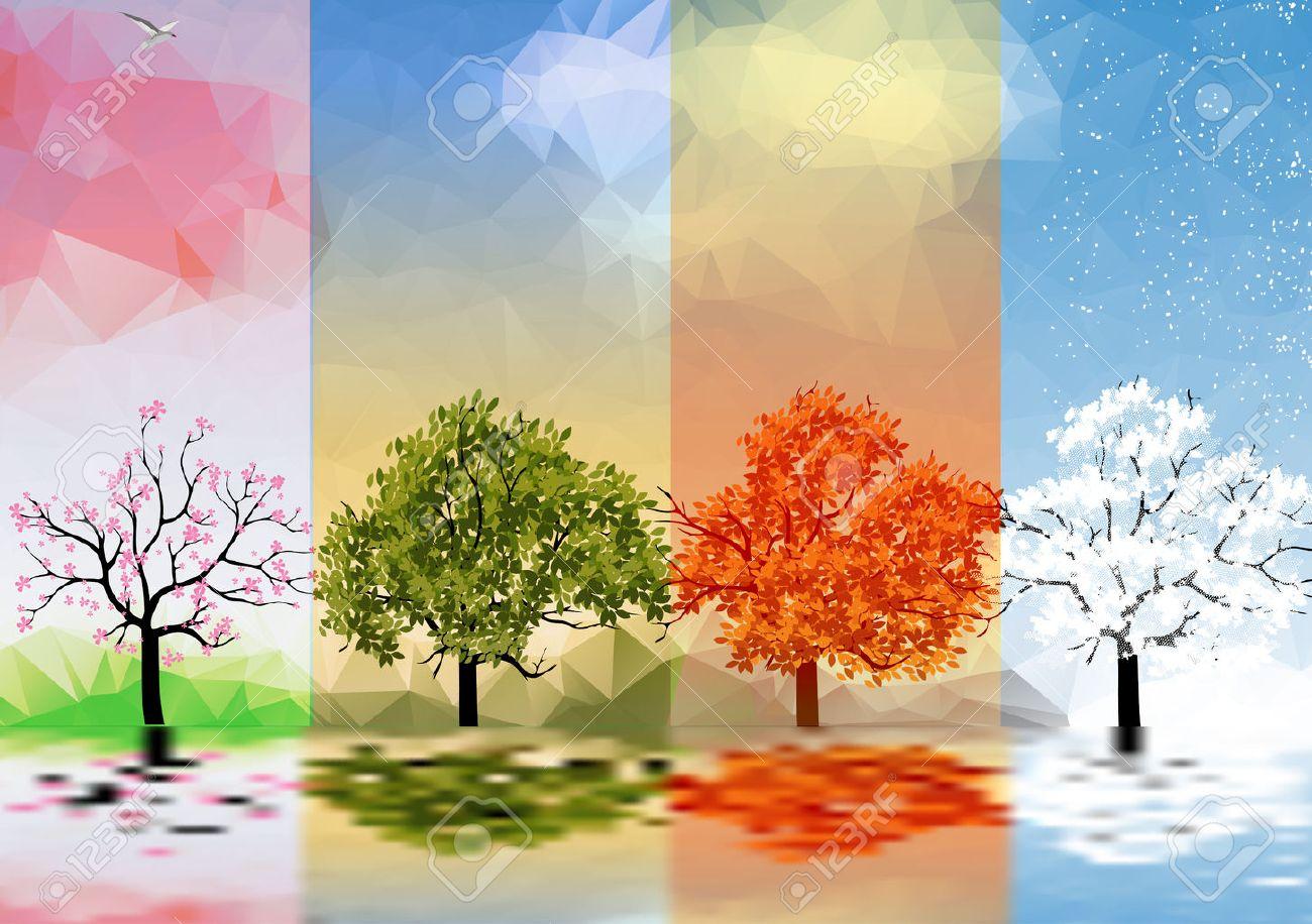 四季の木々 や湖の反射とバナーのイラスト素材・ベクタ - Image 31402104.