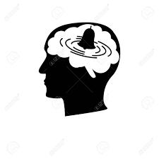 不安障害アイコン。脳でベルと人間のプロファイルの株式ベクトル ...
