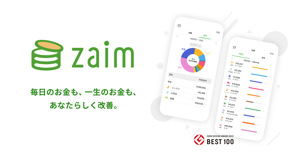 家計簿アプリ Zaim:簡単・無料でできるお金の管理