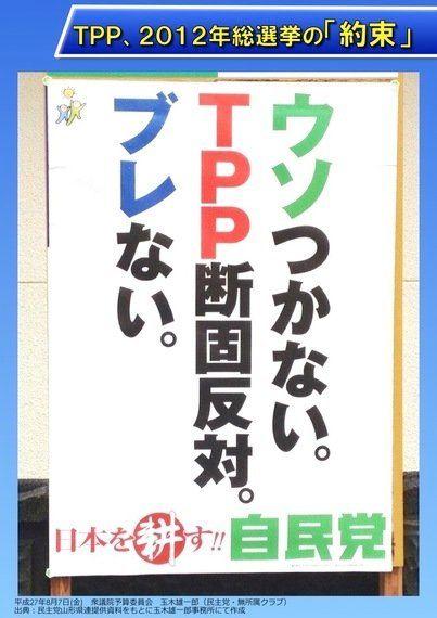 自民党ポスター「ウソつかない。TPP断固反対。ブレない。」の結果 ...