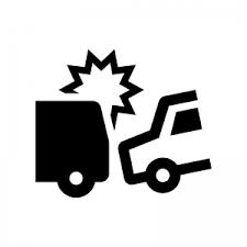 自動車の交通事故のシルエット02 | 無料のAi・PNG白黒シルエットイラスト