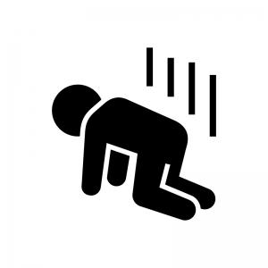 落ち込む・落胆・ガッカリする人のシルエット02   無料のAi・PNG白黒 ...