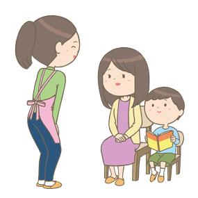お母さんと子供と話し合いをする保健師さんのイラスト🎨【フリー素材 ...