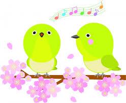 春の桜と歌う小鳥たち | 無料イラスト素材|素材ラボ