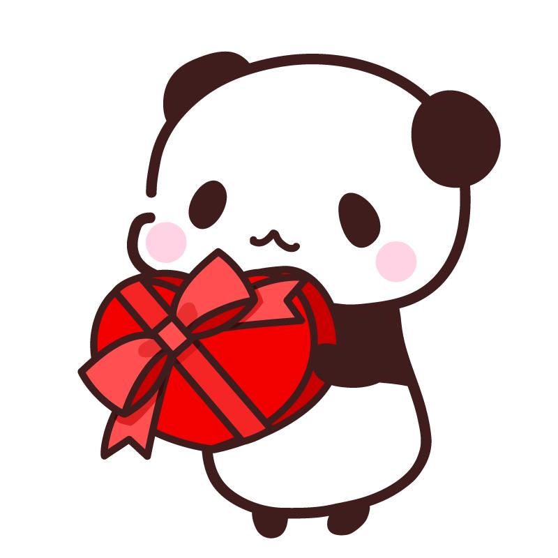 2月のバレンタインに使えるフリーイラスト   パンダ・動物かわいい ...