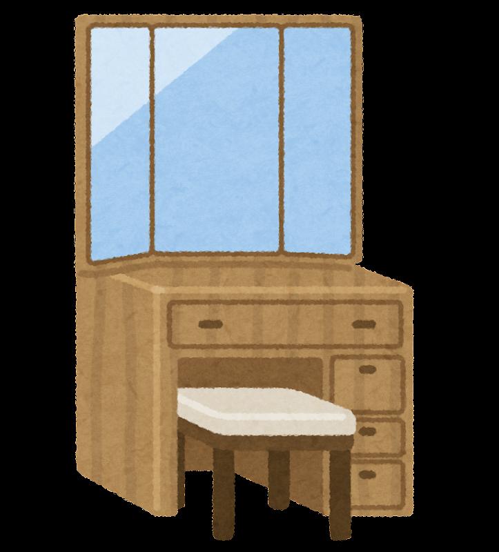 鏡台のイラスト(三面鏡) | かわいいフリー素材集 いらすとや