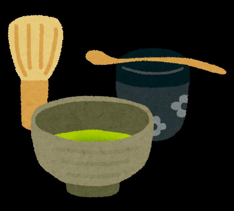茶道の道具のイラスト「茶碗・茶筅・棗・茶杓」 | かわいいフリー素材 ...