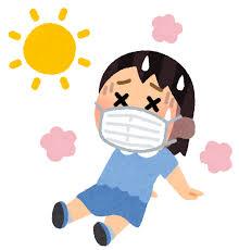 マスクを付けた熱中症のイラスト(女の子) | かわいいフリー素材集 ...