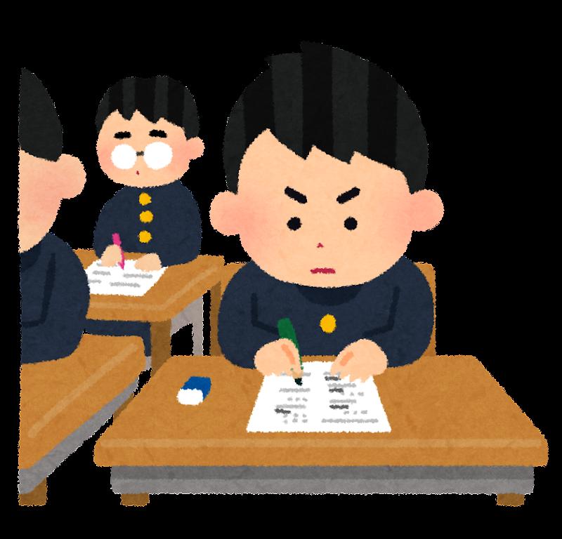 テスト・受験のイラスト「試験中の男子学生」 | かわいいフリー素材集 ...