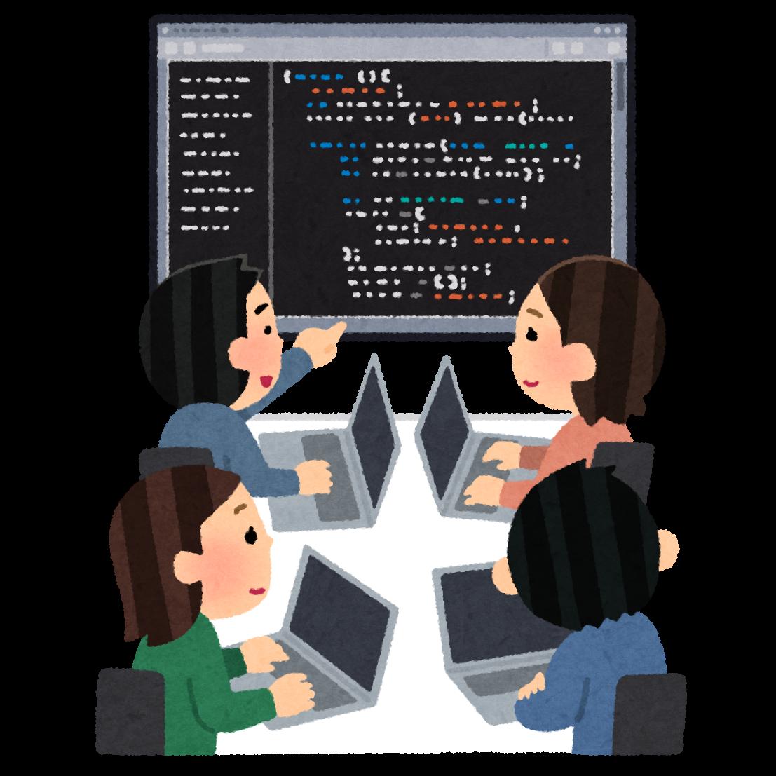 チームでプログラミングをしているイラスト | かわいいフリー素材集 ...