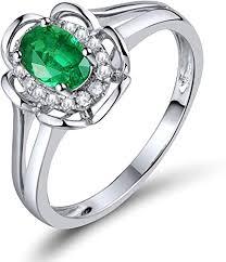 Amazon | Lanmi 天然 グリーン エメラルド ダイヤモンド リング Pt900 ...