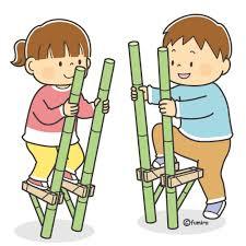 竹馬であそぶ子どもたちのイラスト(カラー) | 子供と動物のイラスト ...
