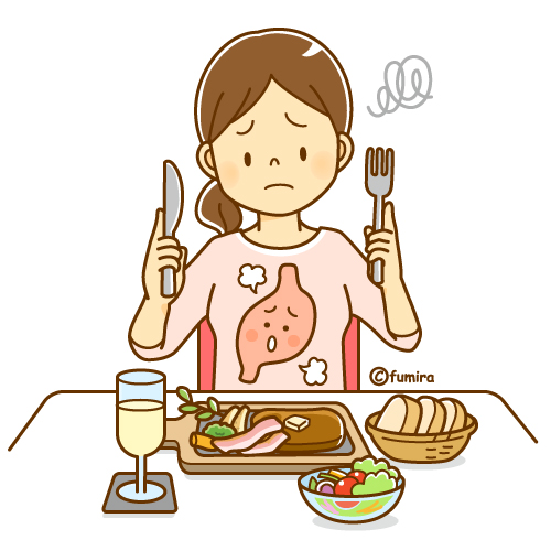 胃もたれ・胃の調子が悪い女性のイラスト(ソフト) | 子供と動物の ...
