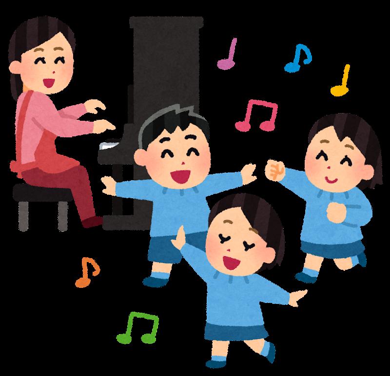 ピアノに合わせて踊る子供たちのイラスト | かわいいフリー素材集 ...