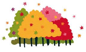 紅葉のイラスト「紅葉した森」 | かわいいフリー素材集 いらすとや