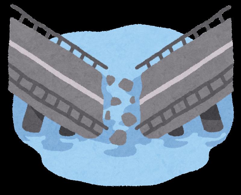 崩壊した橋のイラスト | かわいいフリー素材集 いらすとや