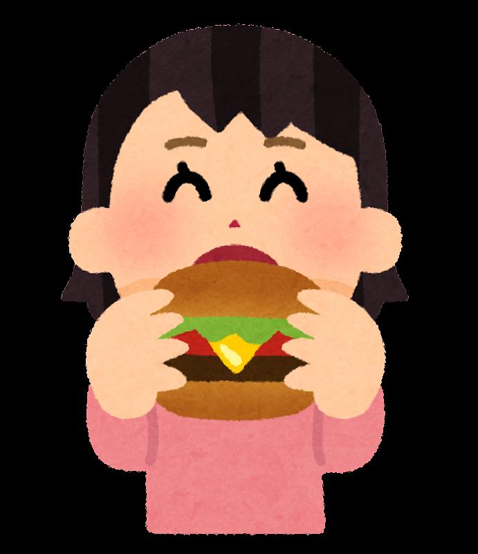 ハンバーガーを食べる人のイラスト(女性) | かわいいフリー素材集 ...