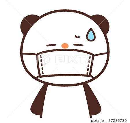 かわいいパンダのキャラクター マスクをするイメージ 背景透過・白背景 ...