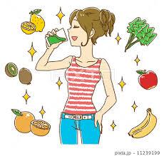 スムージーを飲む女性(ボーダー柄タンク)のイラスト素材 [11239199 ...
