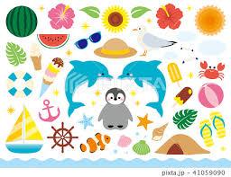 夏のいろいろ飾りセットのイラスト素材 [41059090] - PIXTA