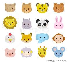 かわいい動物の顔 アイコン イラスト01のイラスト素材 [53790586] - PIXTA