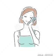 冷たいタオルで火照った肌をアイシングしてる若い女性のイラスト。の ...