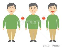 太った中高年の男性がやせたのイラスト素材 [67356638] - PIXTA