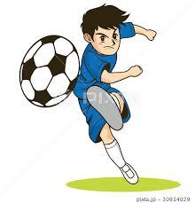 カタログやパンフレットで使えるサッカーでシュートをするサッカー少年 ...