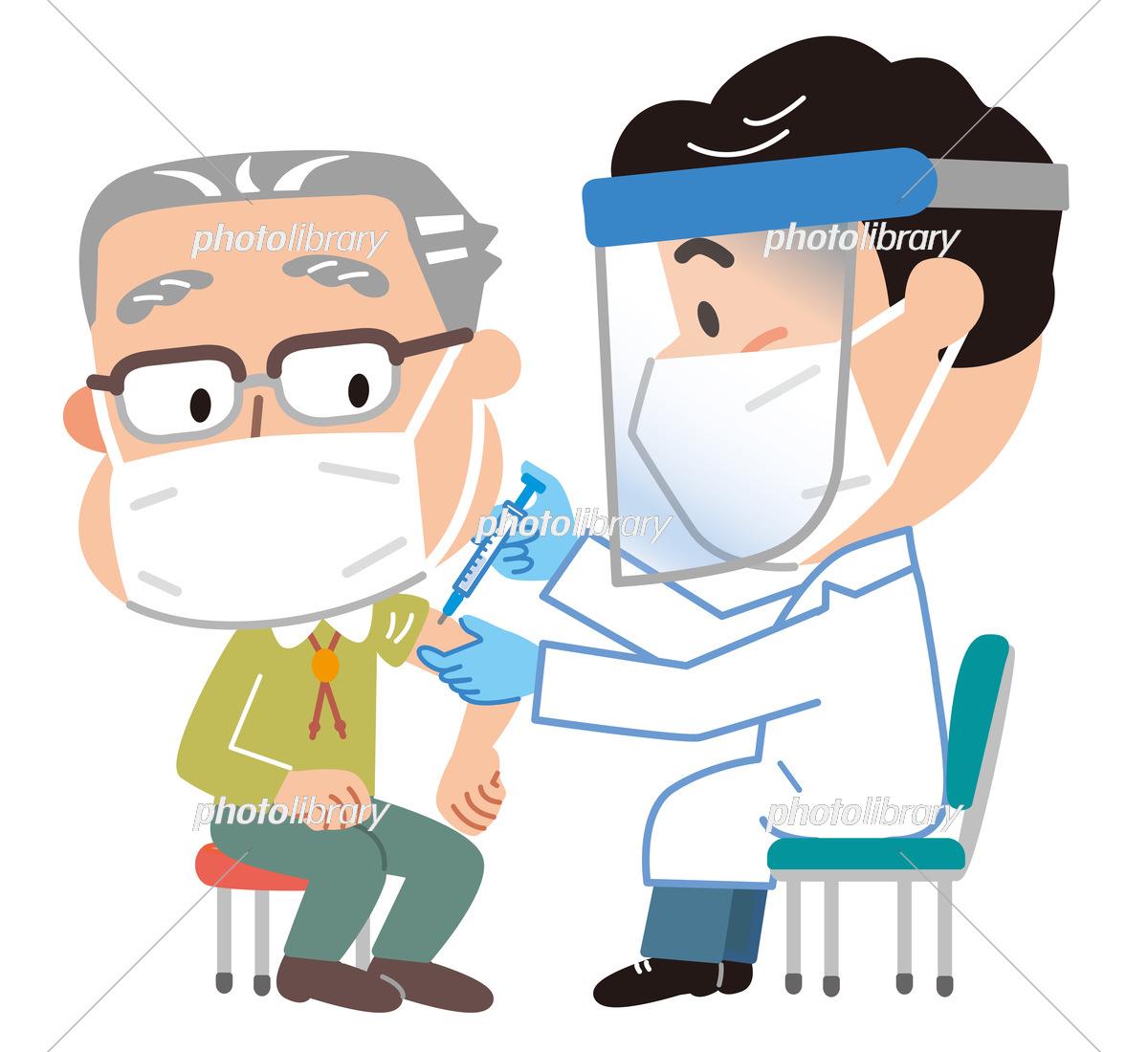 高齢男性に新型コロナのワクチンを注射する医師のイラスト イラスト ...
