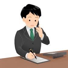 コールセンターで電話受付をしている男性のイラスト | エコのモト