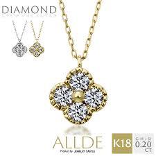 K18 WG / YG ダイヤモンド 0.2ct クローバー ネックレス レディース ...