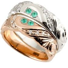 新規購入 ハワイアンジュエリー 結婚指輪 安い ペアリング エメラルド ...
