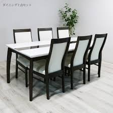 ダイニングテーブルセット 6人 6人用 鏡面 白 7点セット 北欧 おしゃれ ...
