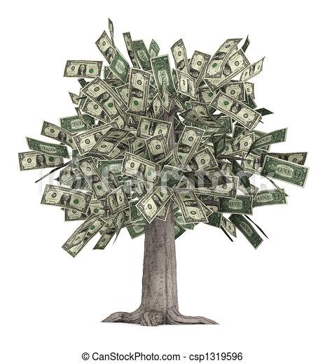 お金の 木. 株, ∥それ∥, render, 木, 成長する, 上に, 葉, 厚く ...