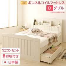 日本製 カントリー調 姫系 ベッド ダブル (SGマーク国産ボンネルコイル ...