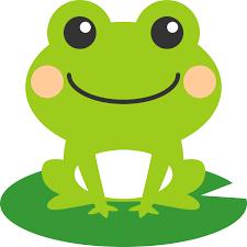 葉っぱの上に乗った可愛い蛙(かえる)のイラスト   カエル イラスト ...の画像