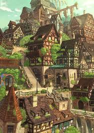 街並み | せばすちゃ [pixiv] | ファンタジーな風景, 幻想的なイラスト ...