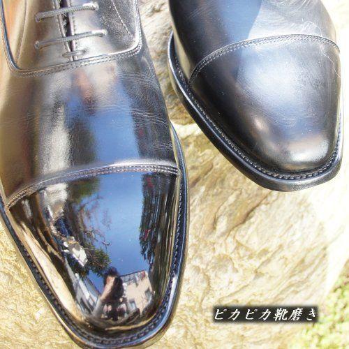 革の凹凸を埋めて鏡面磨きにする - ピカピカ靴磨き 花菱HANABISHI ...