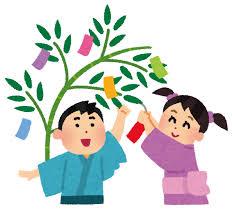 七夕のイラスト「短冊を飾る子供たち」 | かわいいフリー素材集 いらすとや