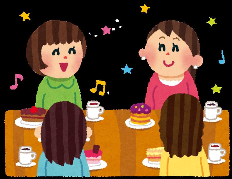 女子会のイラスト「ケーキと紅茶パーティ」 | かわいいフリー素材集 ...