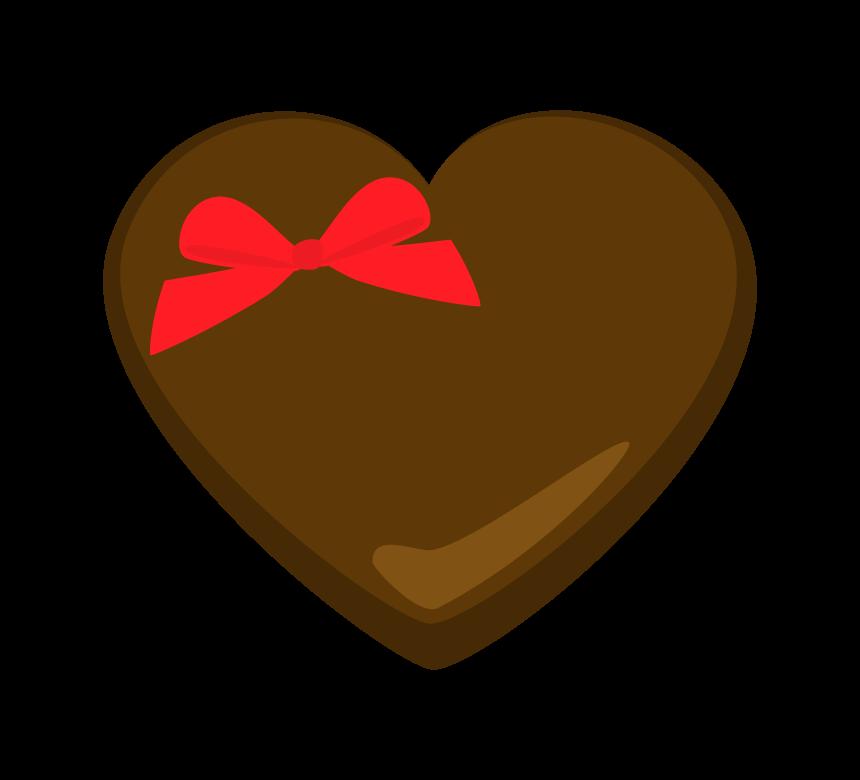 赤いリボンをつけたハートのチョコレートのイラスト   フリー素材 ...