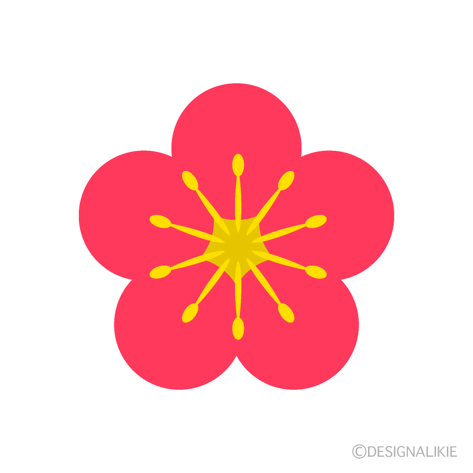 シンプルな梅の花の無料イラスト素材|イラストイメージ