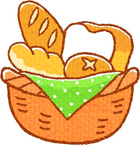 カゴに色々なパン | ふりいいな ~イラストの素材屋さん