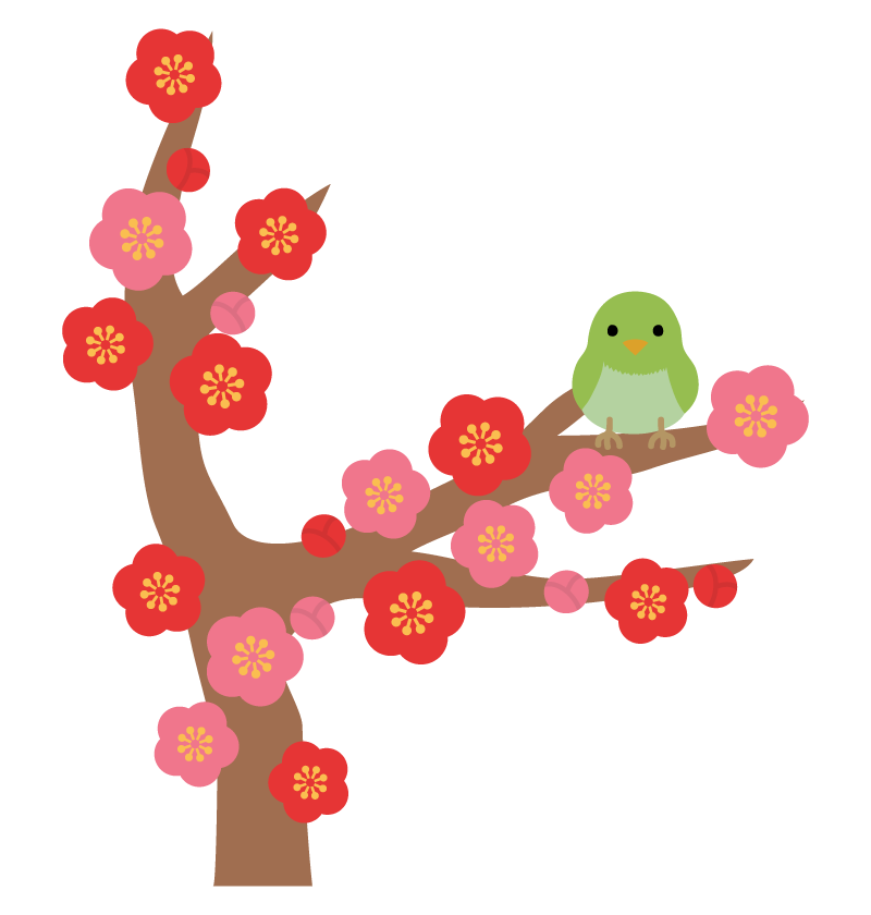 梅と鶯(うぐいす)のイラスト | 無料のフリー素材 イラストエイト