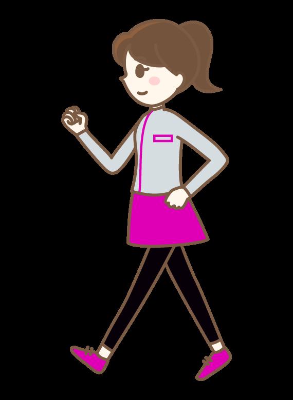 ウォーキングをする女性のイラスト | 無料のフリー素材 イラストエイト