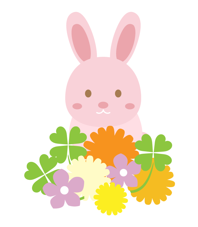 かわいいウサギと花のイラスト | 無料のフリー素材 イラストエイト