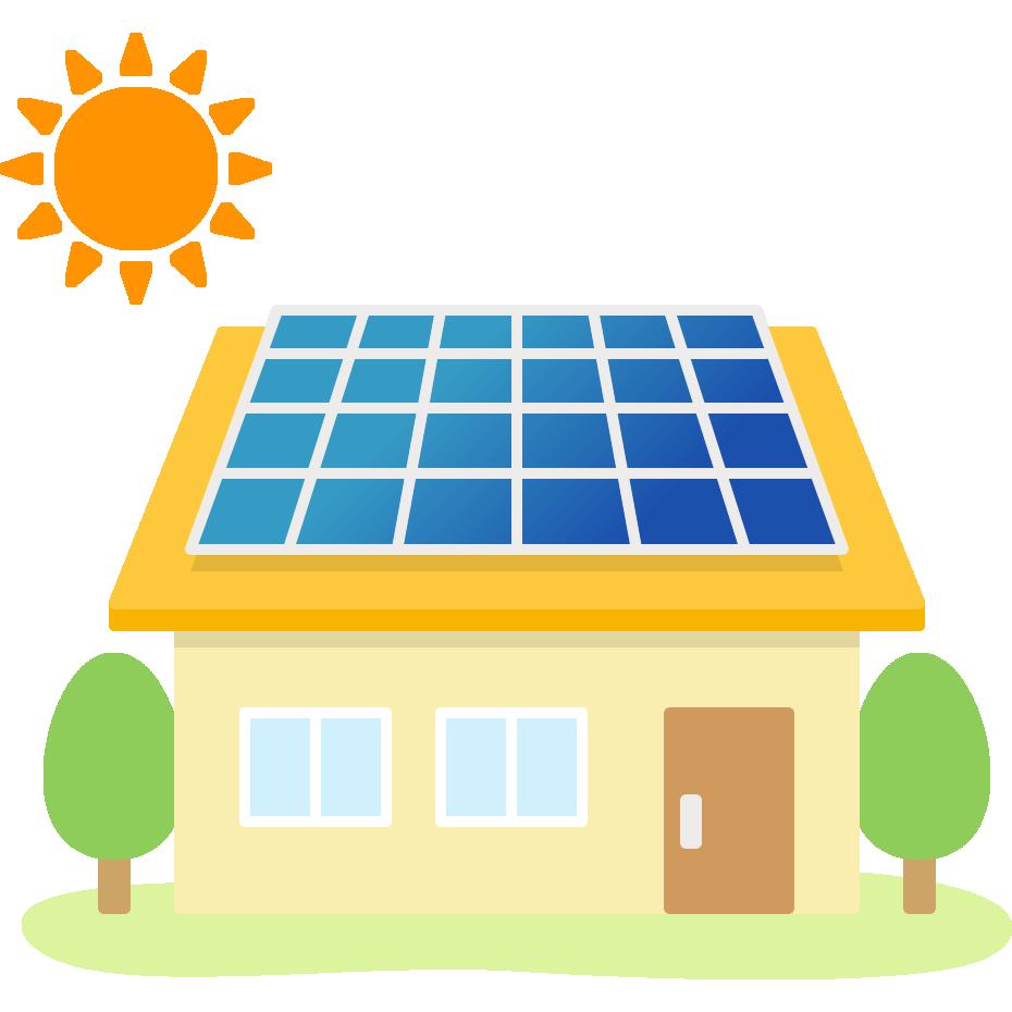 太陽光発電ソーラーパネルを設置した家のイラスト | 無料フリー ...