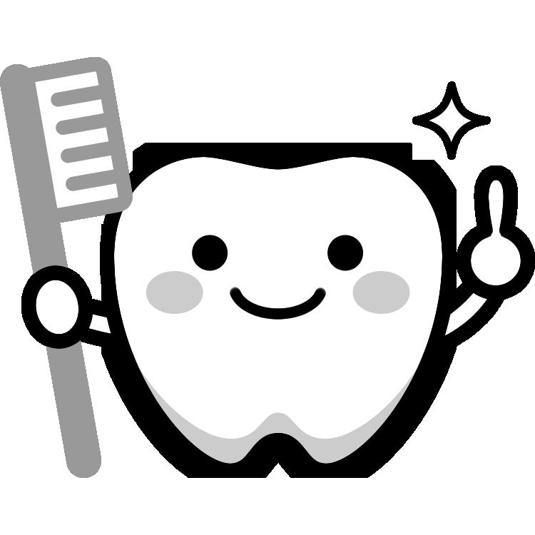 かわいい歯のキャラクターイラスト(白黒) | 無料フリーイラスト素材 ...