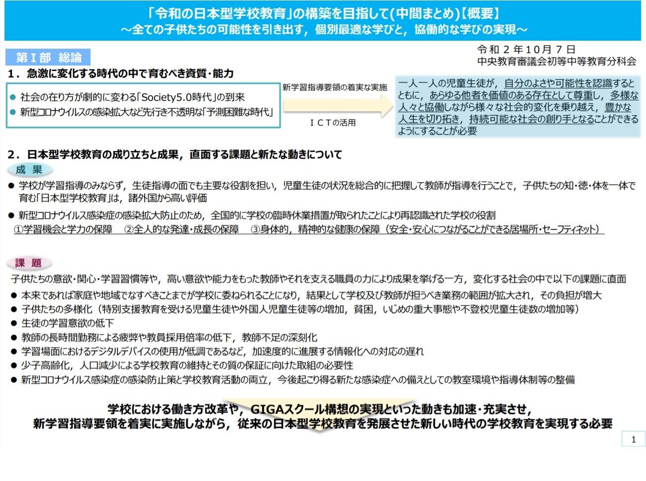 文科省「令和の日本型学校教育」の構築を目指して、中間まとめ | 教育 ...