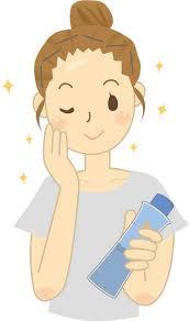 無料イラスト] 化粧水でお肌のお手入れをする女性 - パブリック ...